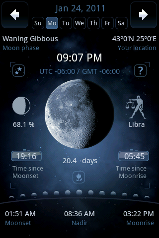 Moon Phase Main Screen