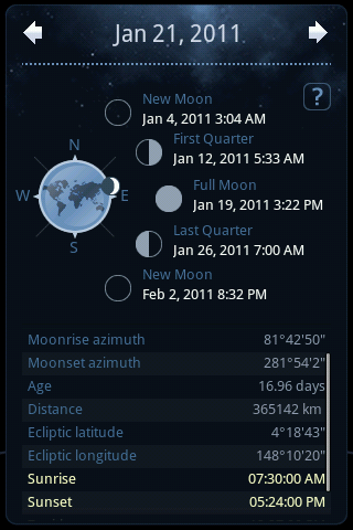 Moon Parameters and Azimuth
