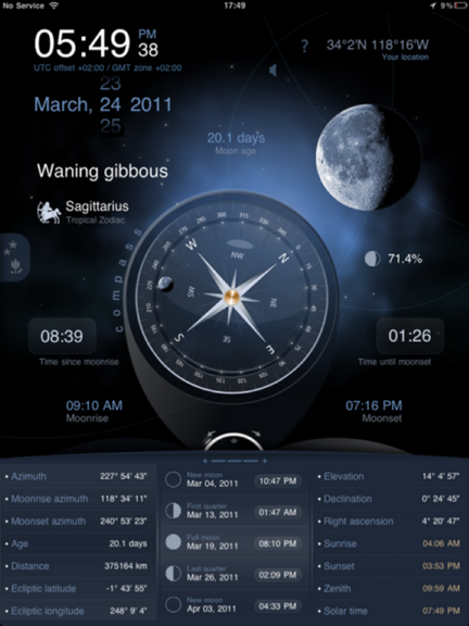 Deluxe Moon HD provides comprehensive moon information for iOS Dms_ipad_compass